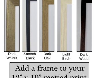 """Add a frame to a 12 """"x 10"""" print, large wooden frame with mat, framed antique print, dark wood frame, dark walnut stain picture framing mats"""