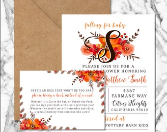Fall Floral Shower Invitation (digital file)
