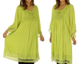 HQ100GN ladies tunic top kaftan blouse plus size size 42 44 46 48 50 52 Green