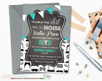 Twins Baby Shower Invitation, Little Man Baby Shower Invitation, Twin Boy Baby Shower Invitation, Twin Boys Baby Shower Invitation, Mustache