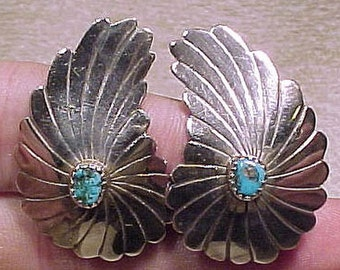 NAVAJO Sterling Silver and Blue TURQUOISE Wing Shape Clip On EARRINGS 1940s