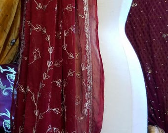 Wine red dupatta scarf veil stole silk Georgette beaded sequin gypsy boho wrap glam belly dance tribal witch Gothic Renaissance