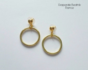 SMALL BRASS VINTAGE gold tone hoops earrings - 50s 60s ( posts or clip ons  )