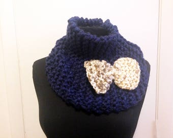 Knit bow cowl - navy blue with cream/tan bow