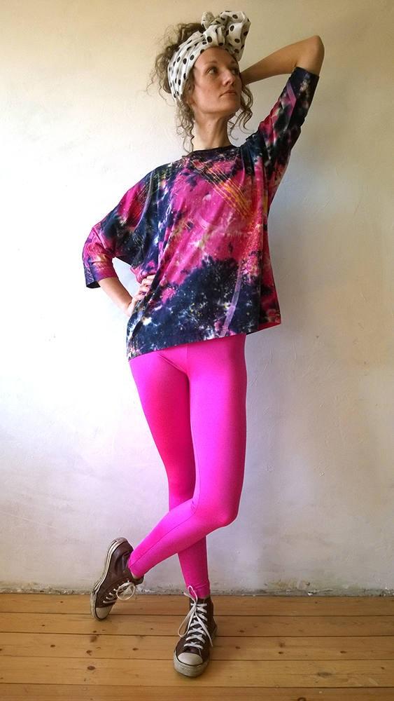 80s neon pink leggings lycra yoga pants vintage leggings - 80er damenmode ...
