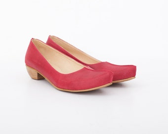 Red Women's Shoes Chunky Heels Wide Pumps Red Leather ADIKILAV NEW Collection 2017