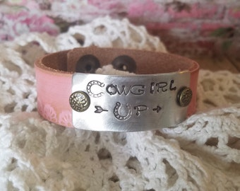 Cowgirl Up ~ Stamped Leather Cuff, Hand Stamped Jewelry, Leather Cuff Bracelet, Narrow Leather Cuff, Personalized, Bangle Bracelet, Pink
