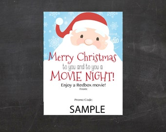 Christmas Redbox Movie Printable - use it to gift promo codes  - Movie Night Redbox Gift Certificate (Instant Download)