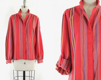 1970s red striped shirt •  roll up sleeve blouse • red stripe button down M