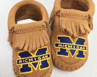 Custom Hand-Painted University of Michigan Baby Booties Moccasins Go Blue!