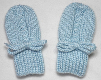 Blue Baby Mittens - Infant Hand Knit Thumbless Acrylic Gloves Fit 0 to 12 Months