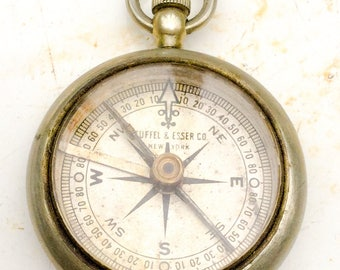 antique silver Compass Keuffel & Esser New York working Camping Hiking glass top fob steam punk groom gift