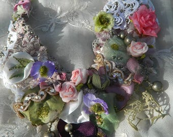 Beautiful rustic spring embroidered and adorned neckace with lors of flowers, elegance and romance, silk and love