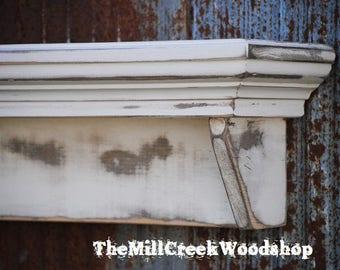 "Distressed Wall Shelf 60"" Floating Ledge Mantle Fireplace Mantel Crown Molding Entryway Organizer Headboard  Farmhouse Rustic Home Decor"