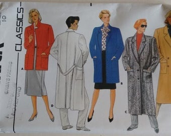 UNCUT Butterick #3422 Vintage 80's Wool Winter Coat Double and Single Breasted 4 Length Options Sewing Pattern Bust 32.5""