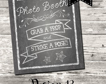 INSTANT DOWNLOAD Graduation Class of 2017 Chalkboard Photo Booth Sign Digital