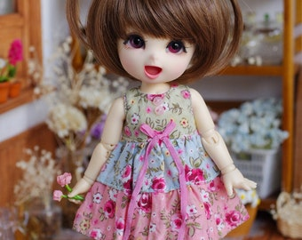 "Lati Yellow/ Puki Fee - ""Dreamy Blossom"" Patchwork Dress - GreenBluePink Color"