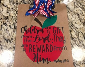 Personalized Clipboard Teacher Gift with Ribbons