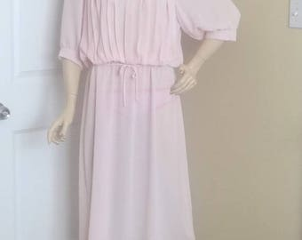 1980s Vintage Pale Pink Pleated Bodice Fashion Dress by Monica Richards, Vintage Clothing, Vintage 1980s Fashion, Sheer Fabric, Size 12-14