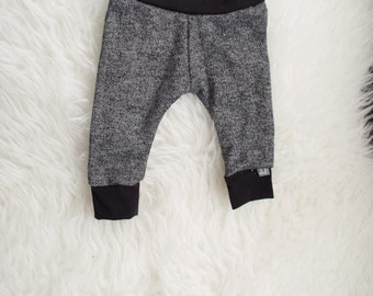 3-6 black and grey cuff pant. terry knit leggings. babies newborn infant pants. boy pants. girl pants. unisex pants