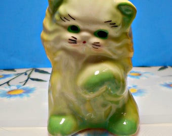 Vintage Ceramic Kitty Cat Planter, Yellow Green Hand Painting, Perfect Succulent Planter, Maybe Shawnee?, Thick Pottery, Old School Design
