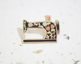 Black Sewing Machine Enamel Pin // Hard Enamel - Enamel Pin - Pin - Lapel Pin - Flair - Brooch - Collar Pin - Hat Pin - By Justine Gilbuena