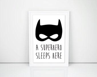 PRINTABLE ART, A Superhero sleeps here, poster, 8.5 x 11 in, Kid's bedroom, Superhero, French, Boys Wall decor, DIY, print at home, nursery