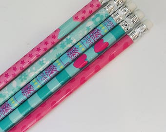 Set of 5 Colorful Pencils with Eraser – Blue Pink – Hearts Stars Flowers
