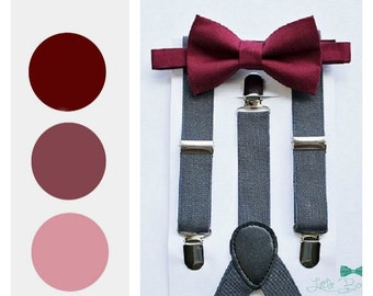 Burgundy Wine Bow Tie, Boys Bow Tie and Grey Suspenders, Ring Bearer Outfit, Rustic Wedding, Baby Boy Bow Tie, Ring Bearer, Boys Clothes