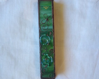 MEZUZAH CASE GREEN Color with Beads Filligree.Stained Glass-Wall Hanging,Jewish Housewarming Gift