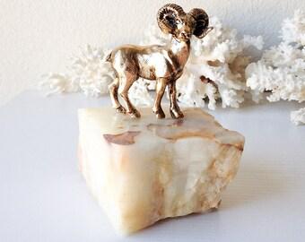 Vintage ram statue modern marble stone base miniature brass gold ibex horned sheep figurine