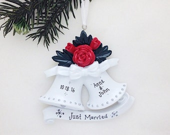 FREE SHIPPING Wedding Bells Personalized Christmas Ornament / Wedding Ornament / Our First Christmas / Gift for Her