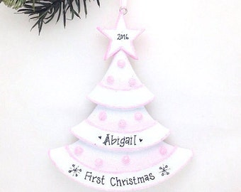 FREE SHIPPING Pink Christmas Tree Personalized Christmas Ornament / Baby's First Christmas / Baby Ornament / Baby Girl