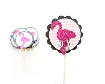 12 Fuchsia & Pink Stripe Flamingo Cupcake Toppers - Tropcial Cupcake Toppers, Luau Birthday, Tropical Party, Flamingo Wedding, Luau Birthday