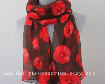Red Poppy Brown Summer Scarf, Spring Scarf, Womens Scarves, Gift For Her, Handmade Scarf, Gift For Mother, Moms Gift