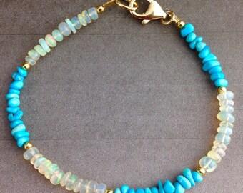 Ethiopian Opal Bracelet, Turquoise Bracelet, Opal Jewlery,Jewelry Gift, Gift for Her, Gold Fill, Gemstone bracelet, Ethiopian Beauty