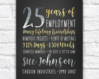 Retirement Company Gift, Boss, Customized Art for Coworker, Employee Gifts, Silver and Gold, Employee of the Month, Reward, 25 Years | WF546