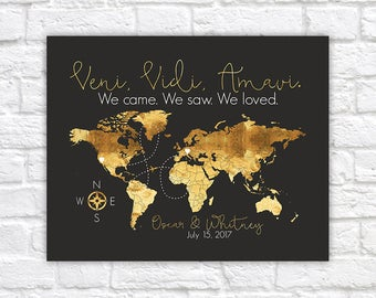 Gold World Map with Italian Quote, Veni, Vidi, Amavi - We Came, We Saw, We Loved. Italy World Travel Map, Honeymoon, Engagement | WF561