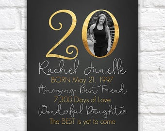 20th Birthday Gift Personalized, Gift for Daughters Birthday, Turning 20 Years Old, Born 1997, Unique Birthday, Gift for Best Friend | WF288