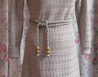 70s Sweater Dress - Carroll Reed Ski Shops - Taupe Gray Turtleneck Knit Dress - Matching Belt - Hipster Chic - Excellent Condition - Size 6