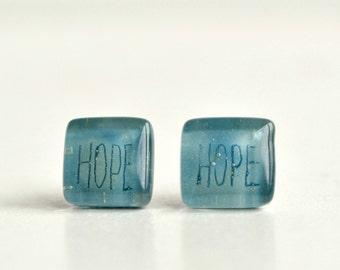 Aqua blue Hope earrings studs, Fused glass & sterling silver, Inspirational faith jewelry