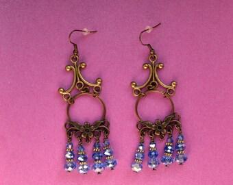 Vintage Chandelier earrings, light blue statement earrings, something blue for bride, blue crystal jewelry, large gold earrings, boho chique