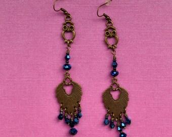 owl earrings, large gold owl earrings, owl lover earrings, handmade owl earrings, dangle drop earrings, blue chandelier earrings, leaf gift