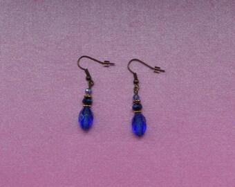 Blue drop earrings, blue mix earrings, deep blue earrings, blue crystal earrings, royal blue earrings, dark blue earrings,  blue dangle gift