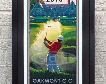U.S.Open 2016 at Oakmont golf gift sports golf art poster print painting