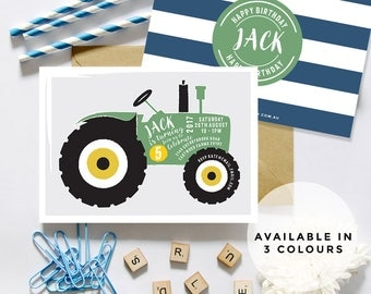 Vintage Tractor Invitations (Personalised DIY Printables)