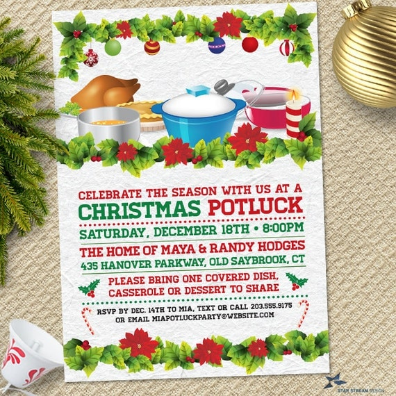 retro christmas holiday potluck dinner party invitation printable