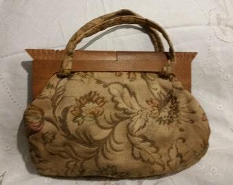 Purse Handbag Wood Frame Floral Brocade Vintage Work Bag