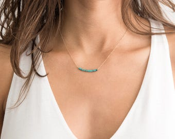 Delicate Turquoise Necklace / Turquoise Bar Necklace, 14k Gold fill Chain or Sterling Silver Chain / Turquoise Necklace Layered + Long LN602
