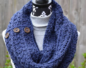 Navy Blue Cowl with Wooden Buttons Crochet Ready to Ship